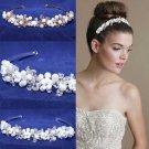 Bridal Wedding Pearl Flower Rhinestone Crystal Gold/Silver Headband Tiara