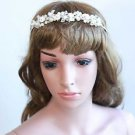 Bridal Wedding Silver Pearl Flower Rhinestone Crystal Hair Headpiece Tiara -CA