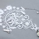 White Lace Wedding Bridal Bride Victorian Rose Ring Slave Bracelet