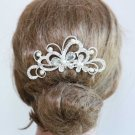 White Pearl Butterfly Bridal Wedding Bride Rhinestone Crystal Hair Comb