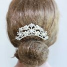 White Pearl Flower Floral Bridal Wedding Bride Rhinestone Crystal Hair Comb