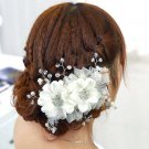 Faux Pearl Acrylic Crystal Sequin Bridal Wedding White Hair Flowers Accessories