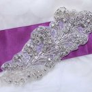 "6.5"" Feather Acrylic Beaded Rhinestone Crystal Wedding Bridal Dress Applique DIY"