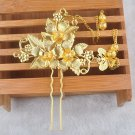 Gold Leaf Butterfly Flower Tassel Wedding Bridal Bride Hair Stick Pin Headpiece