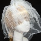 Birdcage Veil and Feather Fascinator Pearl Crystal Bridal Wedding Hair Clip - CA
