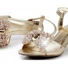 A Pair Light Gold Beaded Ribbon Bow Wedding Bridal Shoe Clips -CA