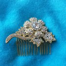 GOLD FLOWER BRIDAL WEDDING BRIDES RHINESTONE CRYSTAL HEADPIECE HAIR COMB