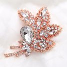 Large Crystal Rhinestone Rose Gold Tone Floral Leaf Wedding Bridal Brooch Pin