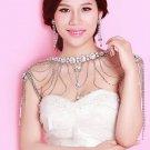 Wedding Bridal Crystal Rhinestone Earrings Shoulder Chain Necklace Jewelry Set