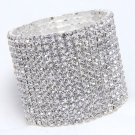 15 Rows Rhinestone Crystal Wedding Bridal Elastic Bouquet Cuff Bracelet Bangle