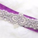 Heart Beaded Rhinestone Crystal Faux Pearl Wedding Bridal Long Sash Applique