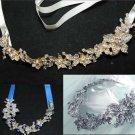 Mix of 3 Bridal Wedding Jewelry Bun Ribbon Rhinestone Crystal Hair Ribbon Headb
