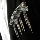 Punk Style Groom Men Rivet Fringed Epaulets Dangle Button Badge Brooch Pin