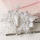 Wedding Bridal Faux Pearl Crystal Lace Net Sequin Flower Hair Clip Headpiece