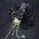 Man Black Feather Gold Silver Metal Tassel Wedding Groom Brooch Pin
