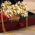 Wedding Bridal Gold Tone Flower Metal Copper Tassel Hair Comb Headpiece