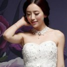 HANDCRAFT LACE APPLIQUE IVORY WEDDING GOTH EVENING DRESS NECKLACE CHAIN