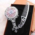 Blue Flower Pink Enamel Rhinestone Crystal Silver Tone Mirror Hand Comb Box Set