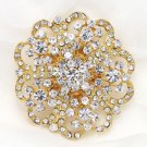 RHINESTONE CRYSTAL WEDDING CAKE GOLD HEART FLOWER FLORAL BROOCH PIN