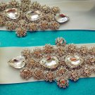 TEARDROP CRYSTAL RHINESTONE WEDDING IVORY RIBBON APPLIQUE SASH BELT -CA