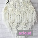 WHITE CHUNKY THICK ROSE CROCHET WOOL LONG WRAP SHAWL SCARF SHRUG
