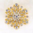 Bridal Wedding Gold Rhinestone Crystal Flower Corsage Brooch Pin