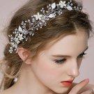 Silver Faux Pearl Flower Leaves Wedding Vine Crystal Forehead Princess Tiara