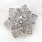 Silver Tone Flower Rhinestone Crystal Wedding Cake Bridal Floral Brooch Pin