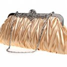 Champagne Gold Bridal Wedding Shoulder Handbag Purse Wallet Clutch Bag