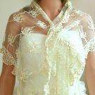 Wedding Bridal Tassel Vintage Style Flower Pattern Long Ivory Wrap Shawl Scarf