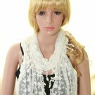 ELEGANT LACE EMBROIDERY COSTUME WHITE TASSEL CROCHET WRAP SHAWL STOLE SCARF