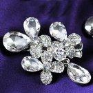 1 Piece Rhinestone Crystal Wedding Flower Dangle Hair Alligator Clip Headpiece