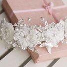 Wedding Bridal Sequin Faux Pearl Lace Flower Hair Long Princess Tiara
