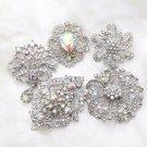 Random Mixed Of 3 Pieces Aurora Bioreals Crystal Rhinestone Bouquet Brooch Pin