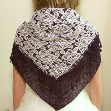 Vintage Style Purple Rose Flower Wrap Polyester Cotton Triangle Shawl Scarf