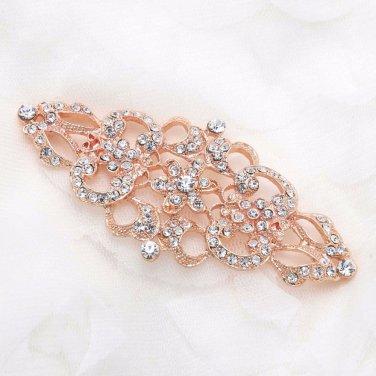 Rhombus Wedding Bridal Vintage Rose Gold Rhinestone Crystal Loop Back Buckle