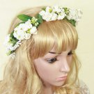 BOHO WEDDING BRIDAL WHITE FLOWER LEAVES CIRCLETS HAIR RING