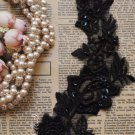 4pcs Embroidered Lace Black Flower Pearl Applique Sewing trim Wedding Craft