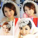 Clear large Acrylic Flower Leaves Wedding Vine Forehead Princess Tiara Headpiece