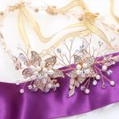 Bridal Wedding Rhinestone Crystal Leaf Gold Ivory Pearl Hair Headband Tiara
