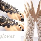 A Pair Of Cream or Black Lace Goth Pearl Rose Lolita Embroidery Ring Gloves