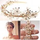 Gold Tone Beaded Crystal Flower Wedding Forehead Headband Princess Tiara