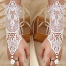 A Pair White Rococo Gothic Lace Wedding Bridal Faux Pearl Bracelet Gloves