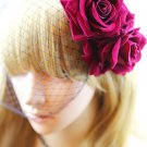 Sexy Black Lace Birdcage Veil Mask Big Dark Red Rose Party Hair Clip Accessory