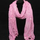 ROSE PINK LACE FAUX PEARL CROCHET FLORAL CROCHET WRAP SHAWL STOLE SCARF