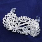 Lot Of 4 Art Deco Bridal Wedding Brides Silver Rhinestone Crystal Hair Comb -CA