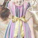 2M Color Ribbon Rhinestone Crystal Bridal Wedding Double Layers Sash Dress Belt