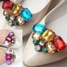 Color Triangle Acrylic Crystal Sandals Beach Wedding Bridal Shoe Clips Pair