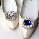 A Pair Blue Clear Color Oval Rhinestone Crystal Wedding Bridal Shoe Clips