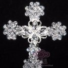 Vintage Style Heart Christian Silver Cross Rhinestone Crystal Wedding Brooch Pin